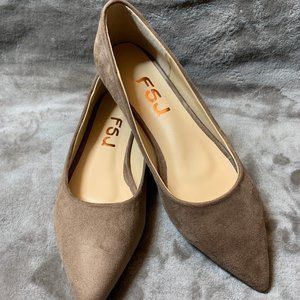 Brown suede flat shallow shoes
